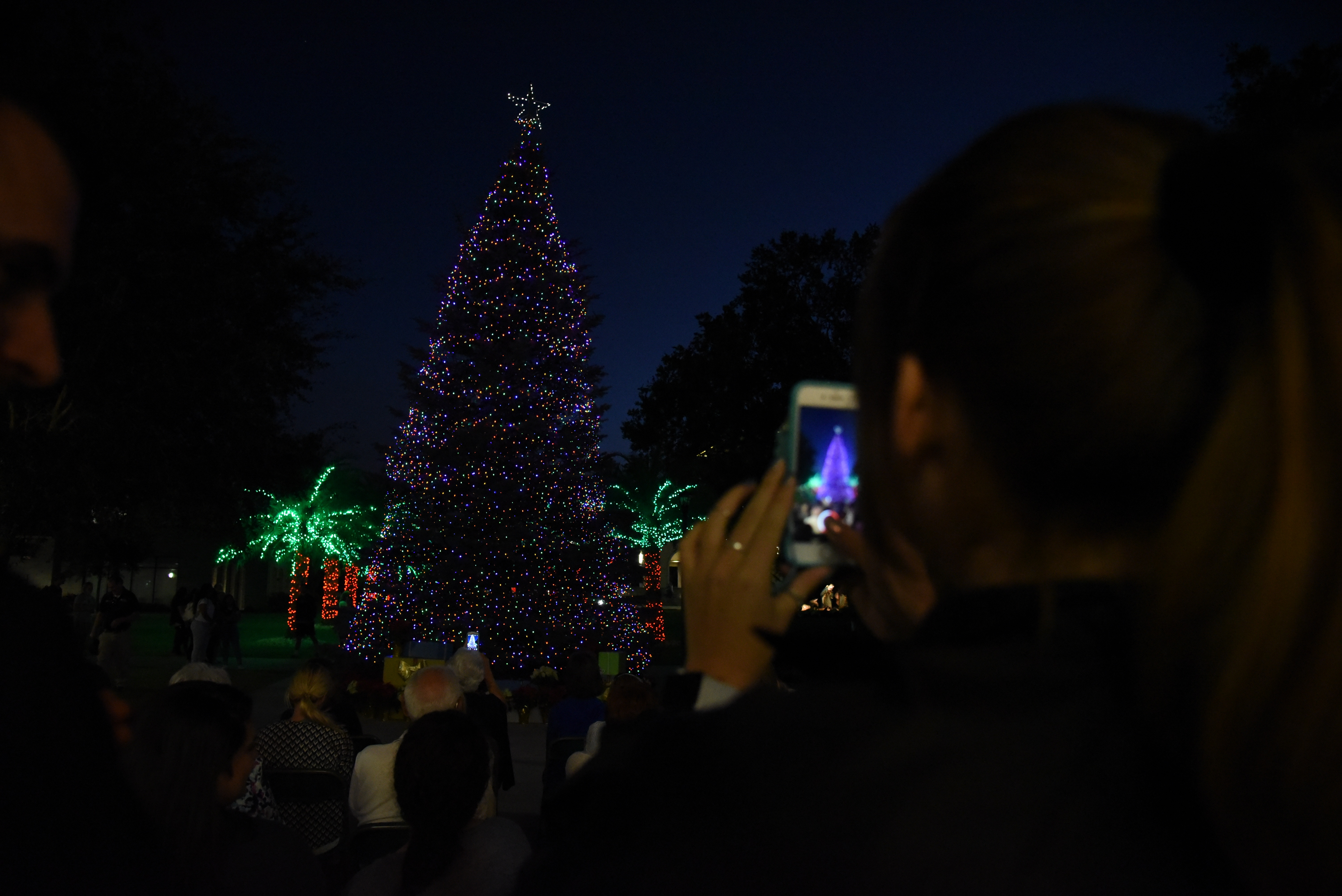 The lighting of the Christmas tree at Saint Leo's University Campus in 2017