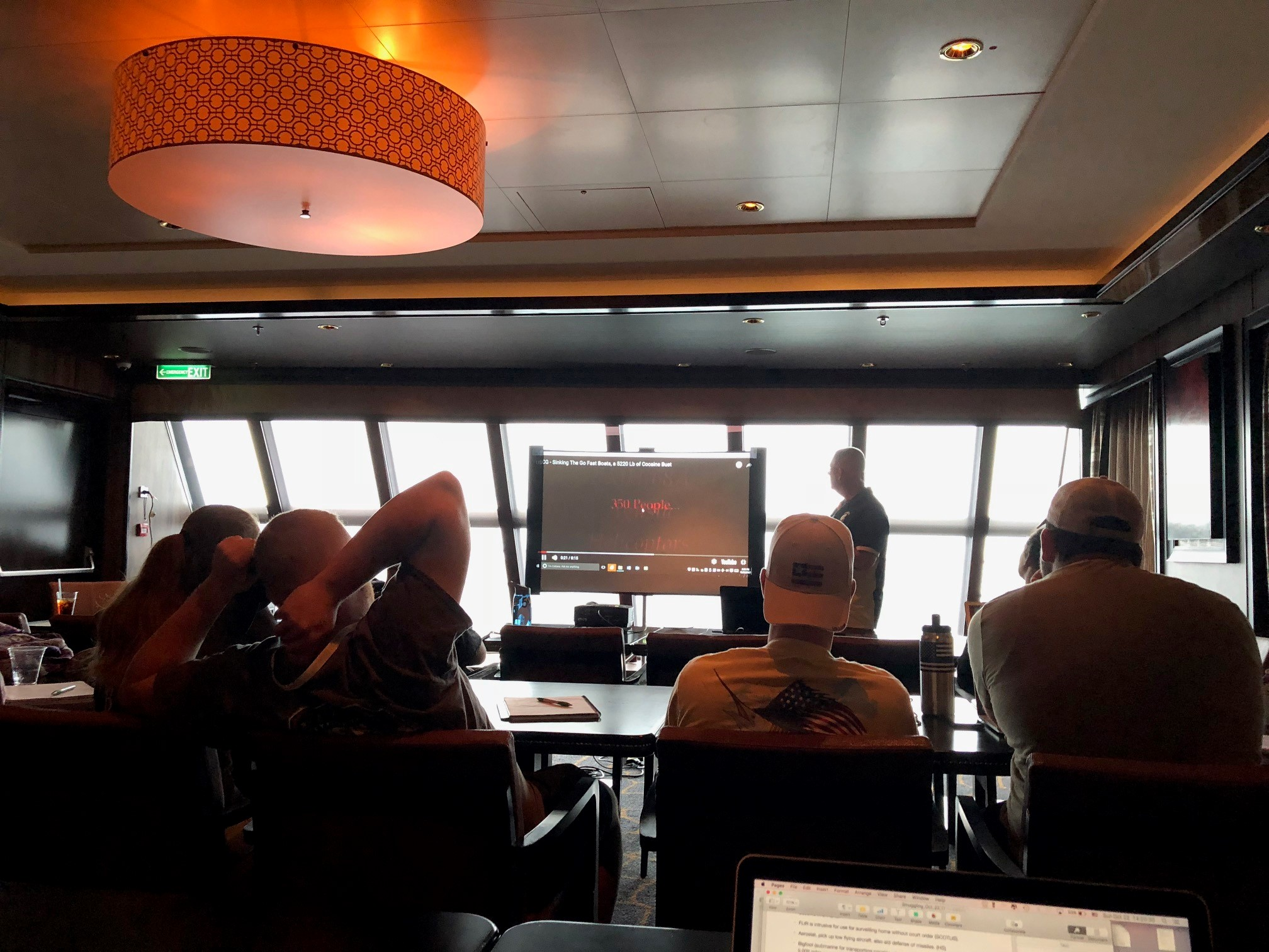 An onboard lecture during a day at sea on the cruise
