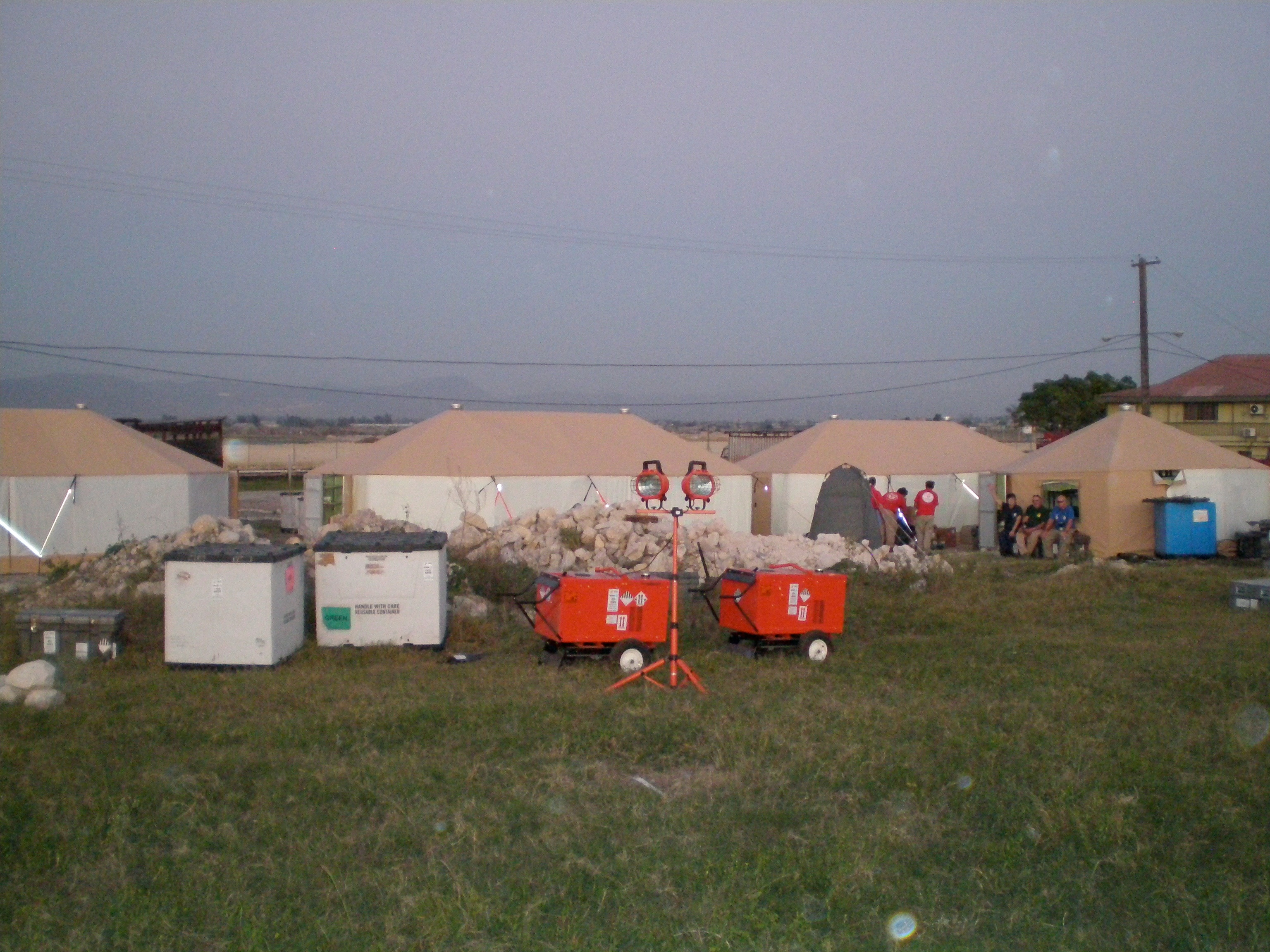 A base of operations for disaster relief during the 2010 earthquake in Haiti